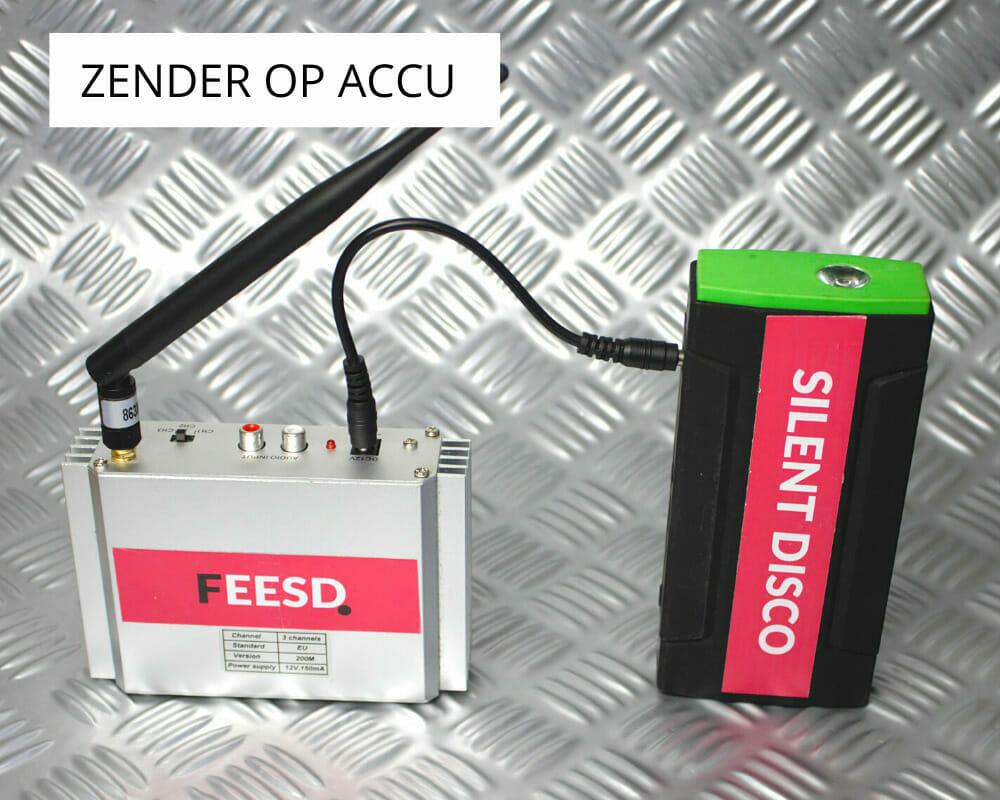 Zender op accu, zodat je kan wandelen met de apparatuur (mobiele versie)